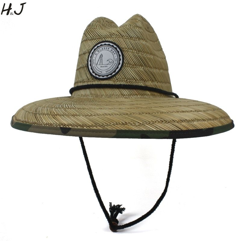 978096df Handwork Women Men Straw Summer Beach Sun hat Outdoor Summer Wide Brim  Camouflage Jazz Panama Kahuna