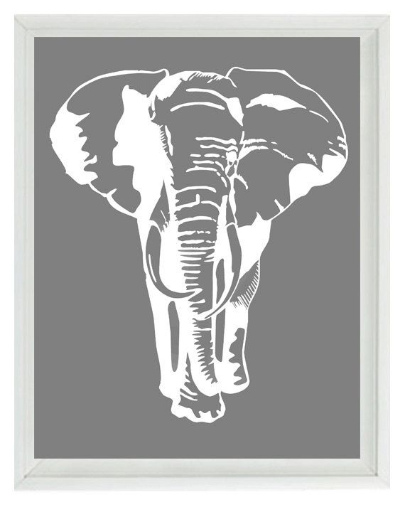 Elephant Nursery Wall Art Prints   White Gray Decor Silhouette   Children  Kid Room Safari Africa Home Decor 8x10 Print. $15.00, Via Etsy.