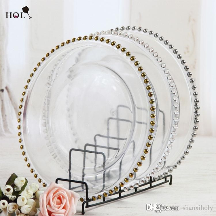 2016 Wholesale Cheap Wedding Clear Silver Gold Glass Beaded Charger Plates From Shanxiholy 3 Glass Beaded Charger Plate Charger Plates Wedding Charger Plates