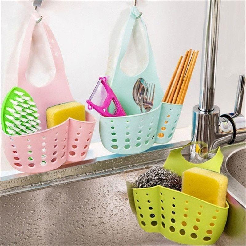 Portable Home Kitchen Hanging Drain Bag Basket Bath Storage Tool