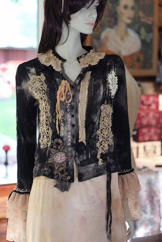 Shadows and light rustic bohemian blouse jacket by FleursBoheme