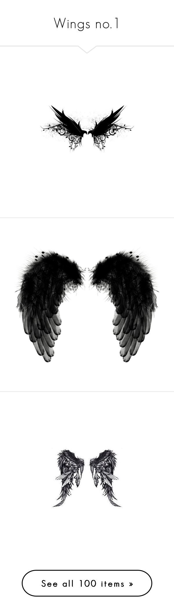 """Wings no.1"" by amygreene-1 ❤ liked on Polyvore featuring wings, backgrounds, butterflies, black, decor, fillers, text, quotes, saying and phrase"