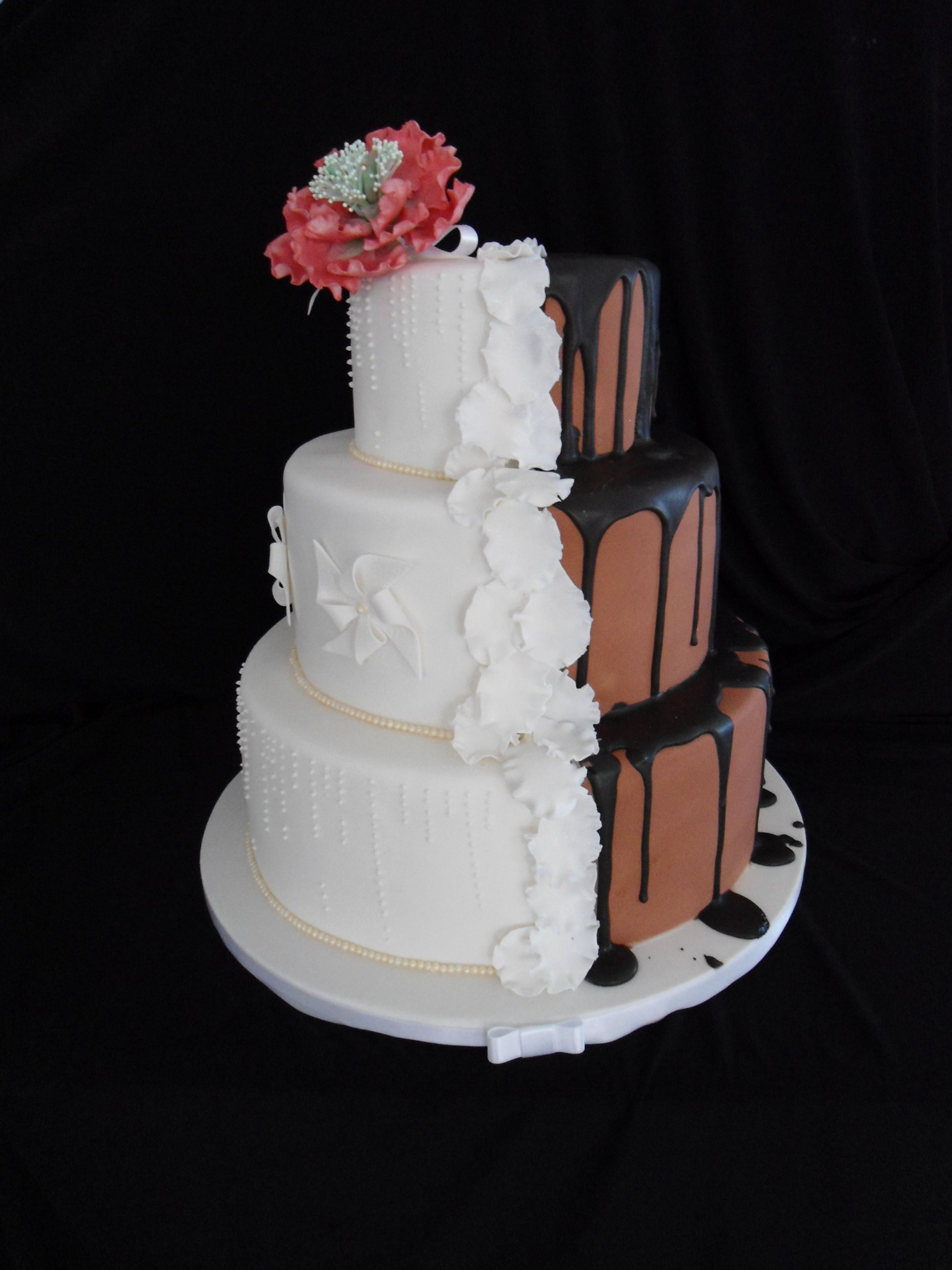 Beautiful half and half wedding cake by red apron perth perth