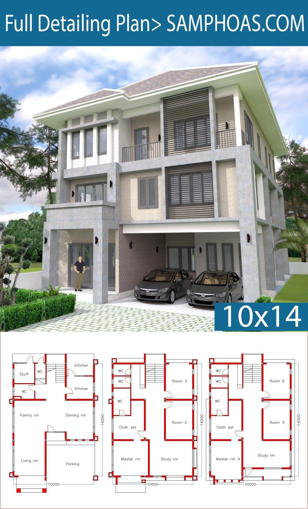 Modern 6 Bedrooms Home Plan 10x14m Samphoas Plansearch 6 Bedroom House Plans Modern House Plans My House Plans