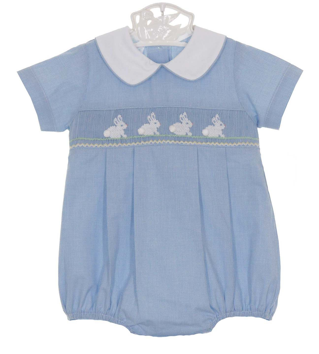 03596816c NEW Petit Bebe by Anavini Blue Checked Smocked Romper with Bunny ...