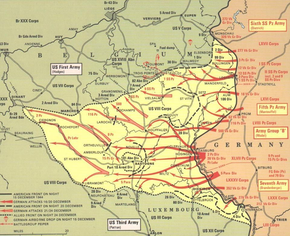 Map of battle of the bulge belgium 517th prct was assigned to the map showing trooptank movement during the seige of bastogne battle of the bulge the largest battle on the western front gumiabroncs Choice Image