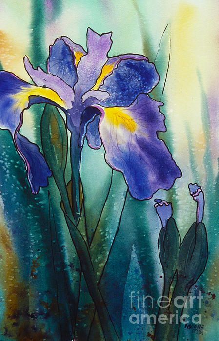 Lavender Green Lavender Blue By Teresa Ascone Iris Painting