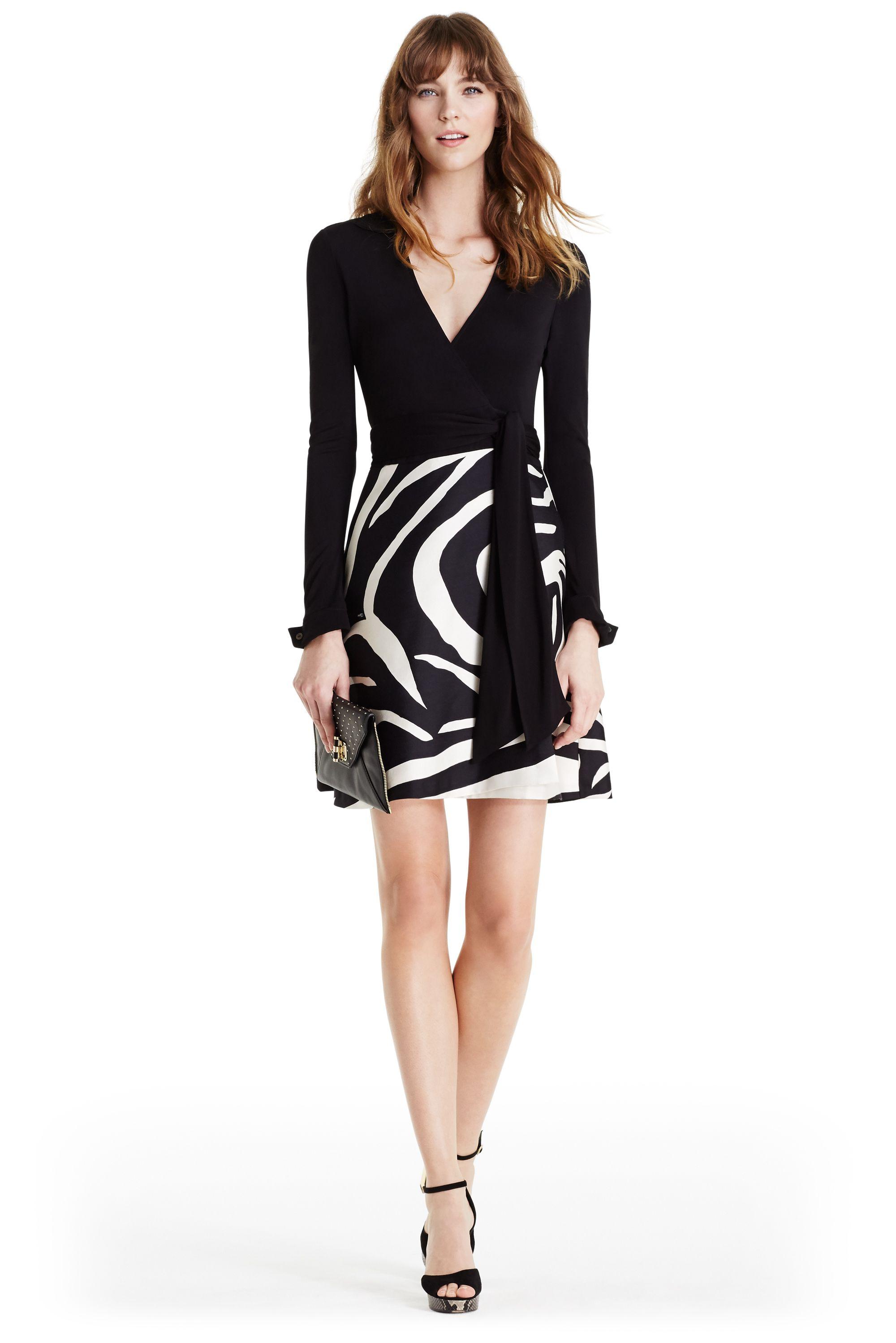 9ec7dbfb322 DVF Amelianna Silk Combo Wrap Dress in black  zebra simple black  DVFholiday