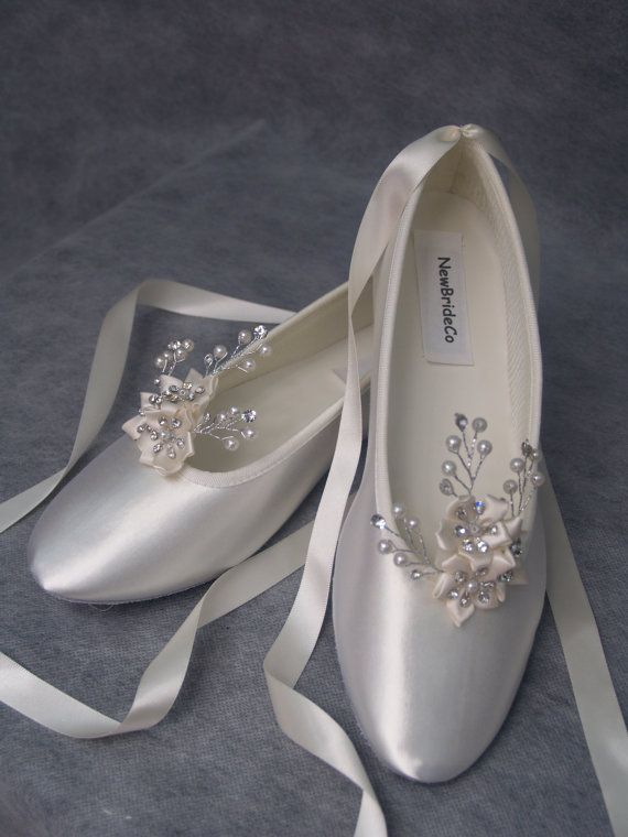 Wedding Ivory Flats Crystals And Pearls Ballet Style Ivory