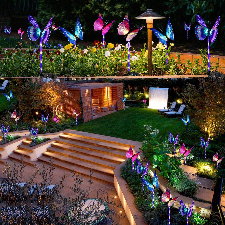 Garden Solar Lights Outdoor 3 Pack Solar Stake Lights Multi Color Changing Led Butterfly Fiber Opt In 2021 Solar Lights Garden Led Garden Lights Outdoor Solar Lights