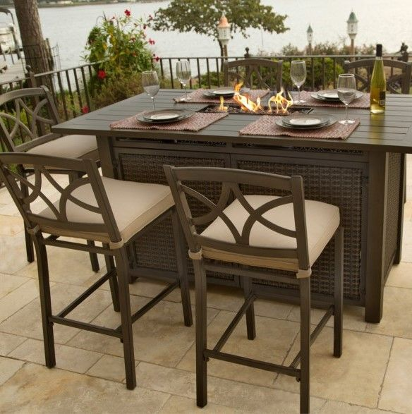 Davenport 5 Piece High Dining Bar Set With Strip Burner Available Online Only Rust Buy Outdoor Furniture Patio Furniture Sets Clearance Patio Furniture