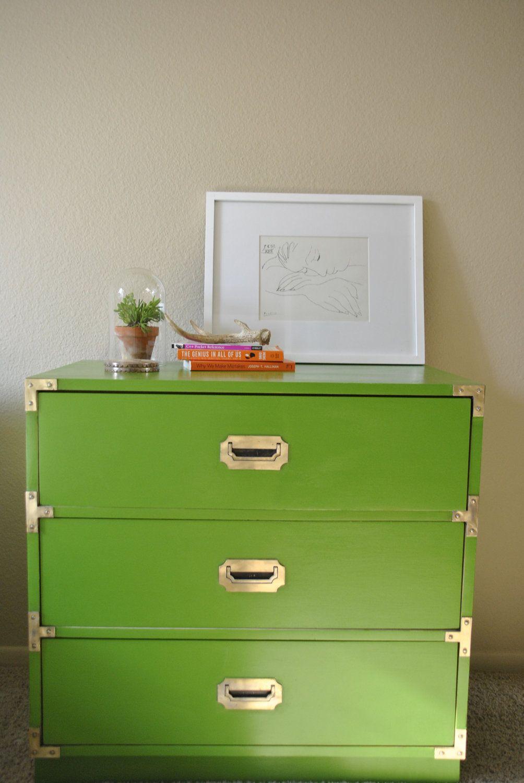 Vintage Lime Green Campaign Dresser Campaign Dresser Campaign Furniture Green Painted Furniture