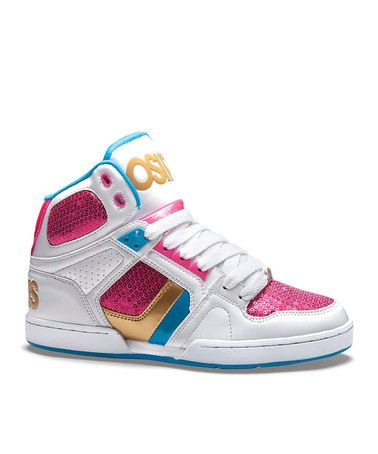 White & Pink NYC 83 Slim Hi-Top Sneaker - Kids
