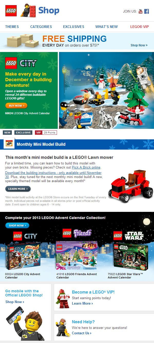 Lego holiday email holiday emails pinterest for Christmas newsletter design ideas