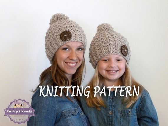 4476fe54650 KNITTING PATTERN Mommy and Me Textured Beanies