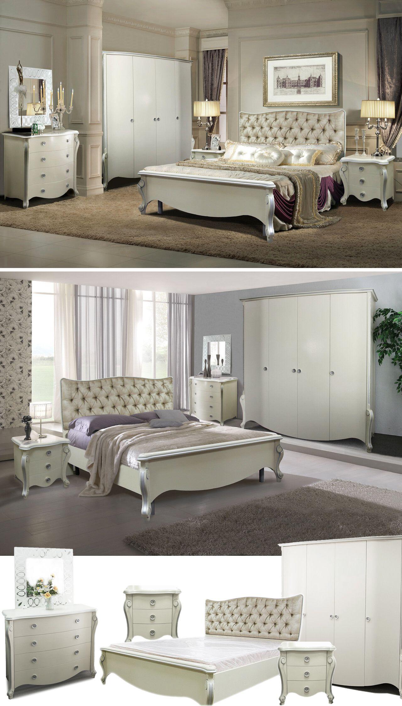 LUISA Weißes Schlafzimmermöbel modernes Barock