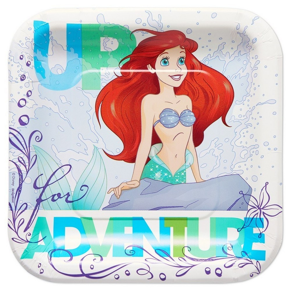 Little Mermaid/Ariel Square Disposable Plates - 8ct,