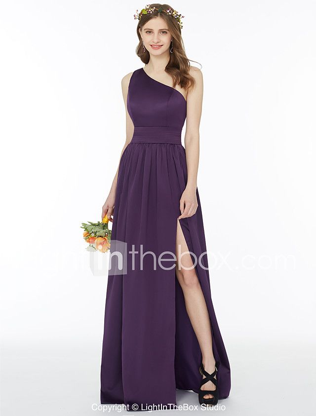 A-Line Princess One Shoulder Floor Length Chiffon Bridesmaid Dress ...