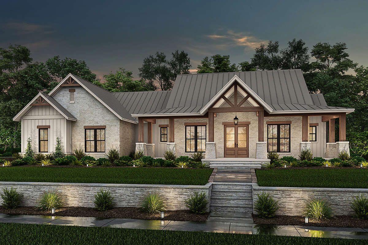 House Plan 041-00230 - Modern Farmhouse Plan: 2,454 Square Feet, 3 Bedrooms, 2.5 Bathrooms