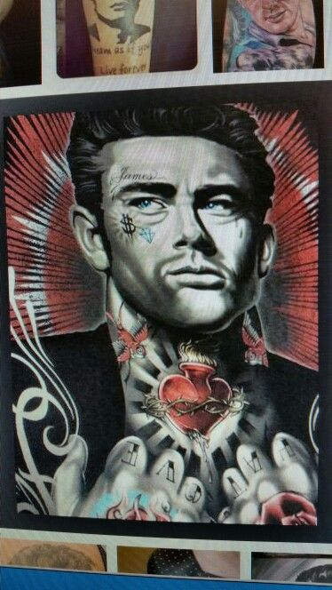 colorful tattooed james dean
