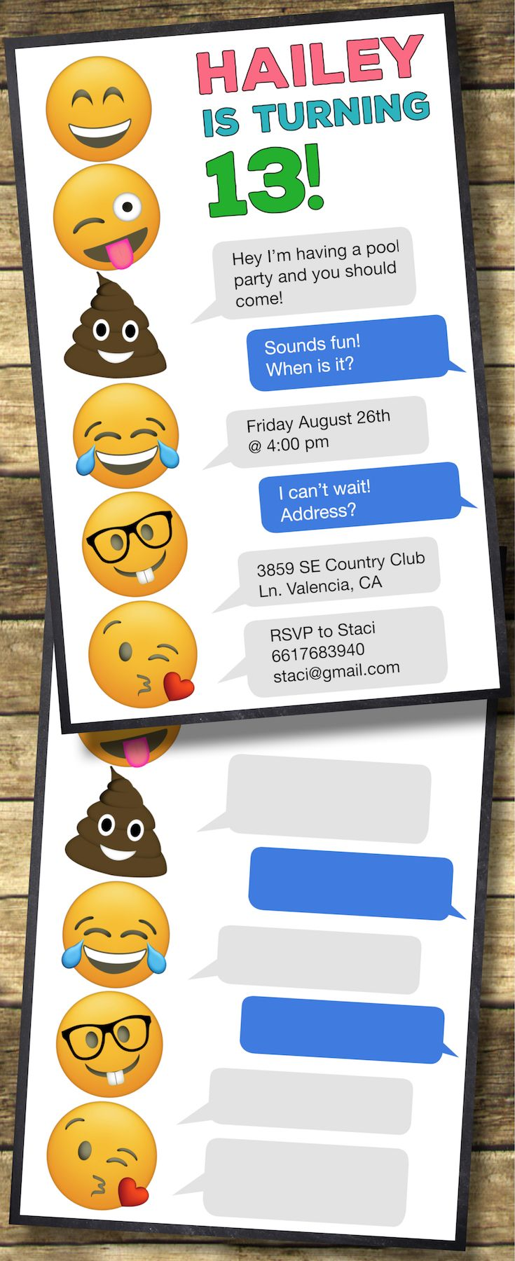 Emoji Birthday Invitations Free Printable Template. Free printable Emoji party invitations template. Easy DIY Emoji party. Easy teenage girl party invites.