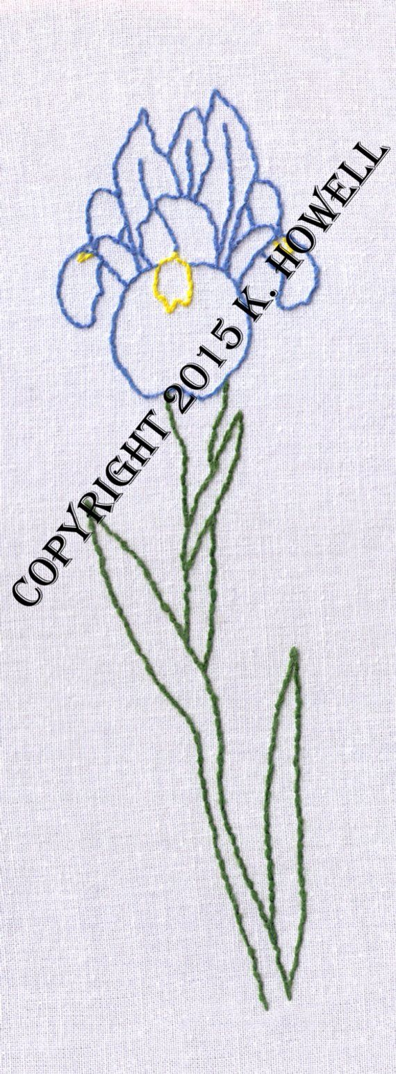 Flower hand embroidery pattern iris pdf products pinterest