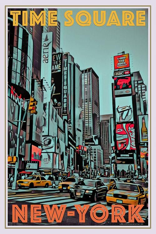 Time Square New York Vintage Travel Poster Vintage Poster Art Retro Poster New York Poster