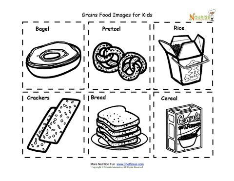 grains food nutrition flash cards cut out printable for kids - Children Printables