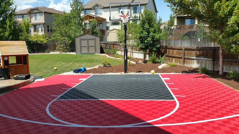 Incroyable Red And Black Outdoor Basketball Court Using ModuTileu0027s Interlocking Floor  Tiles. Http://