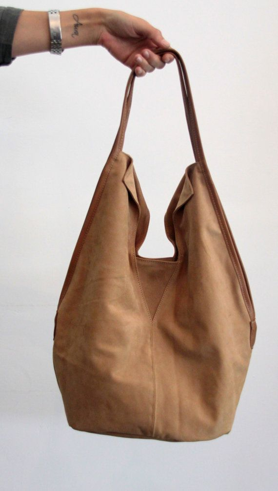 Camel Leather Tote Bag Soft Charley By Ladybirdesign