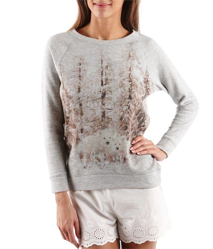 Women's homewear sweatshirt with landscape design