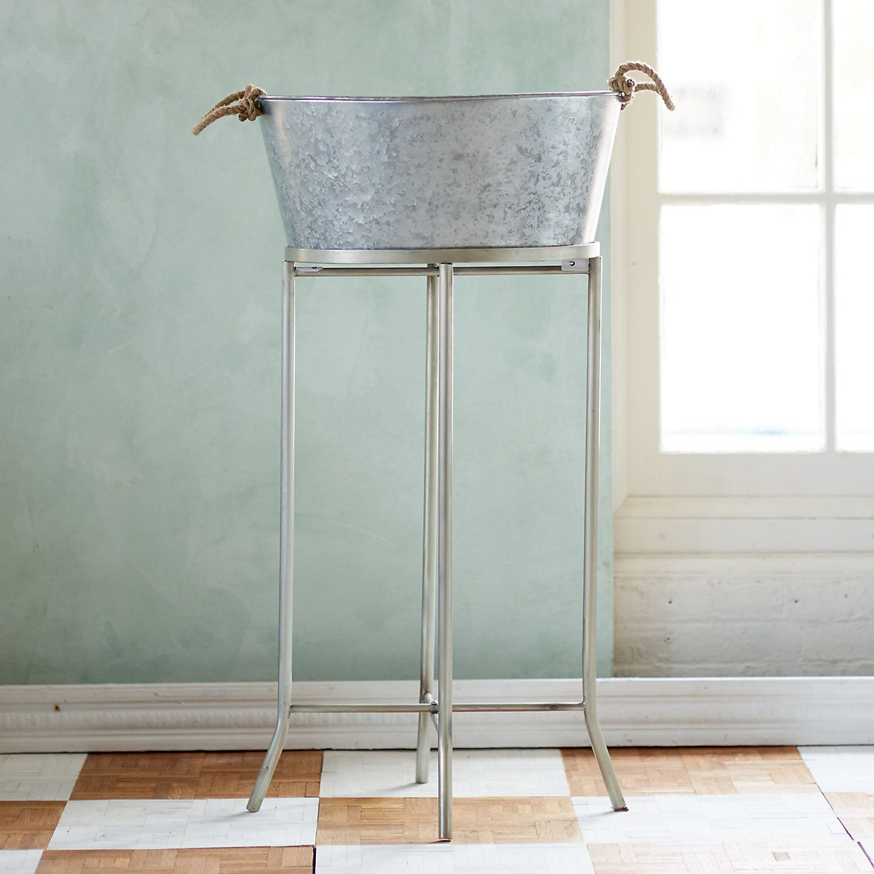 Serve Up Drinks For A Patio Party In This Galvanized Beverage Tub Elevated On Matching Metal Stand And Topped With Rope Handles Easy Carrying