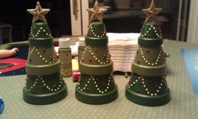 Terra cotta pot christmas trees that i made this year love them decoracion pinterest - Floralux dadizele decoration noel ...