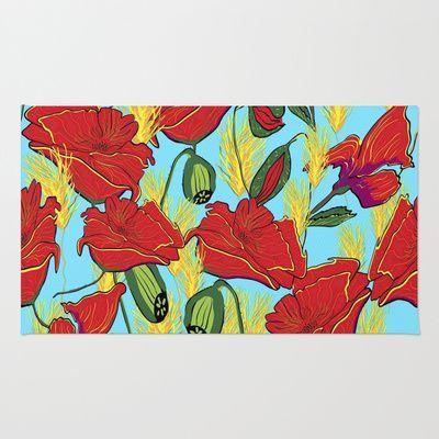Mohnbluten Mohnblumen Area Bettvorleger Teppich Mediendesign Bettvorleger Design