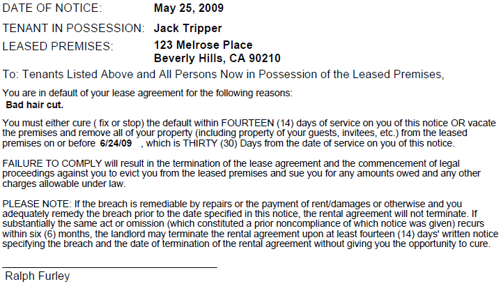 Sample Lease Termination Letter To Tenant: Printable Sample 30 Day Notice To Vacate Template Form