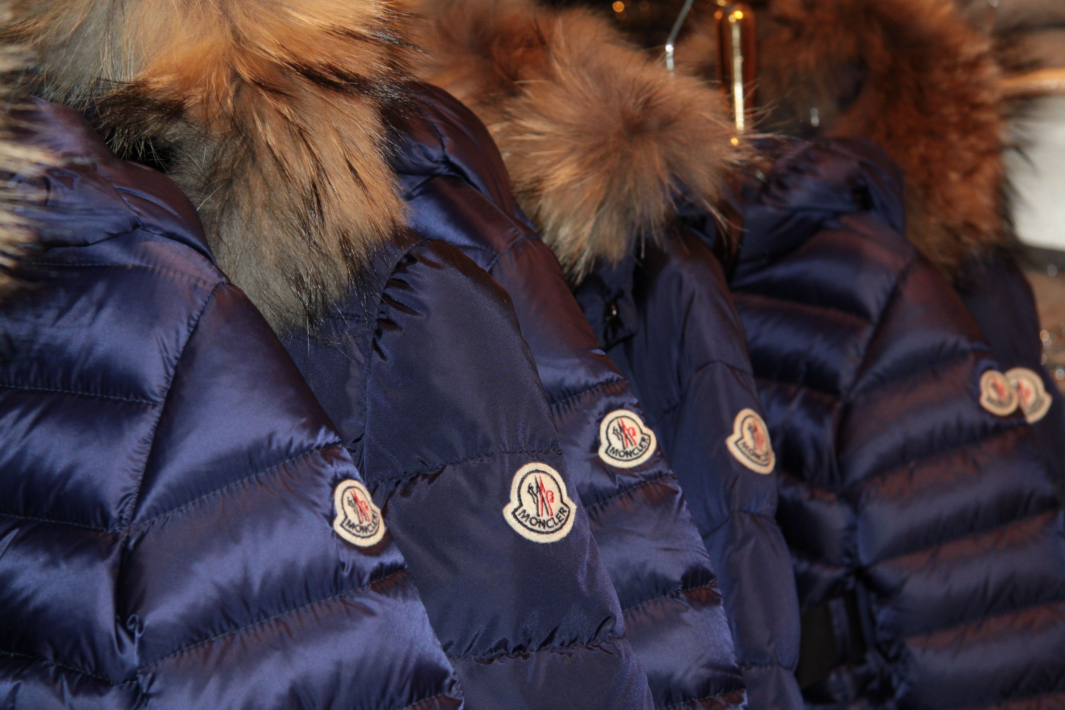 Moncler blue parka made of techno fabric. Feather down