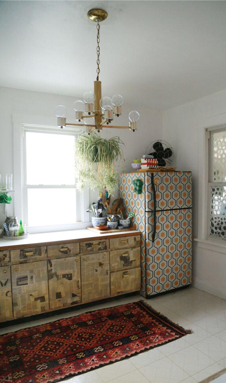 wallpaper your fridge decor boho kitchen interior on boho chic kitchen diy id=80819