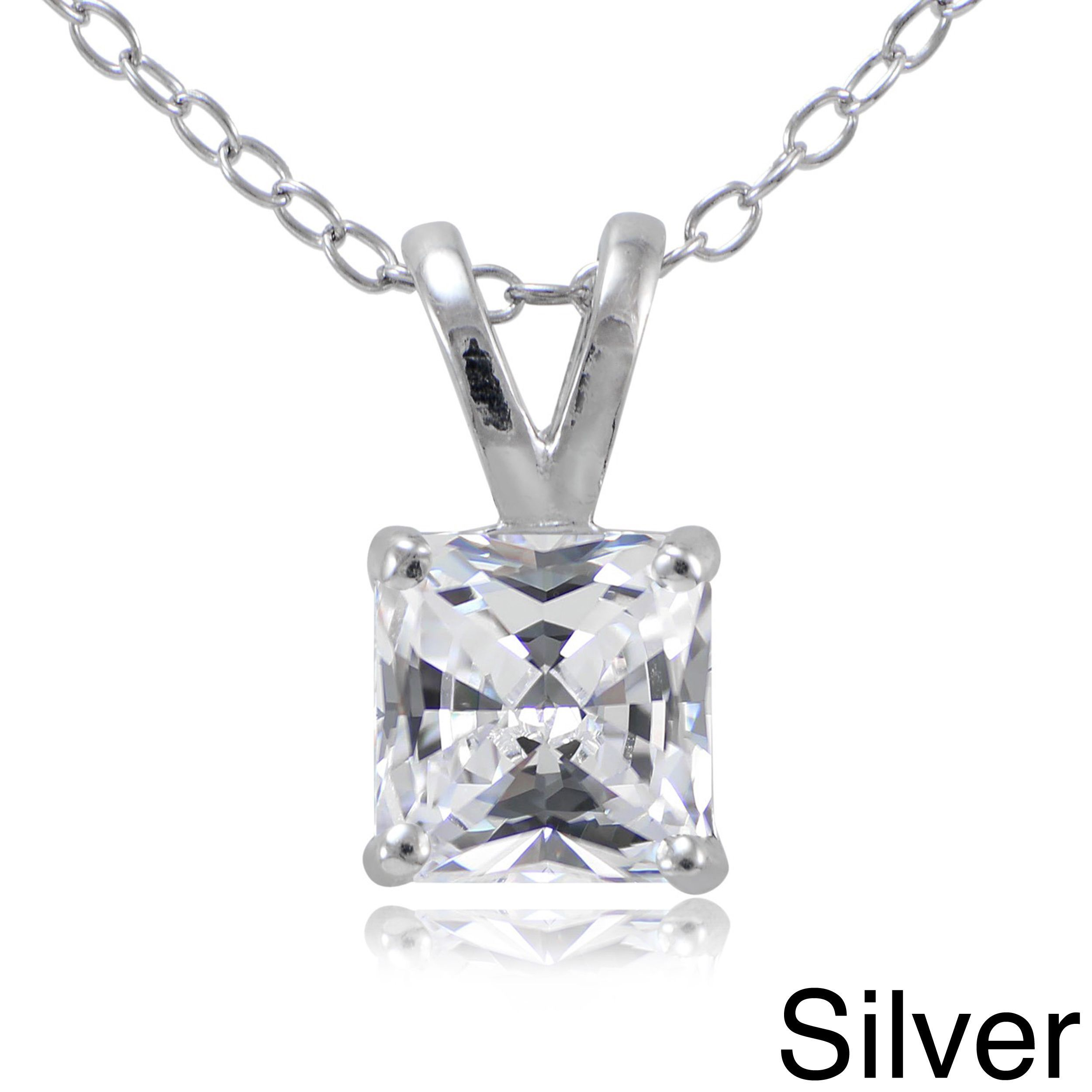 Icz Stonez Sterling Silver Squarecut Cubic Zirconia Necklace Rose