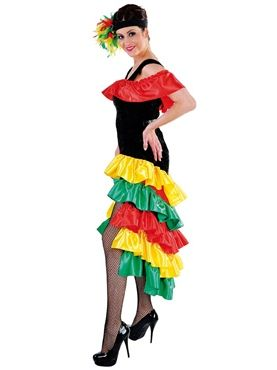 Spanish Flamenco Dancer Rumba Girl Rio De Janeiro Ladies Fancy Dress Costume