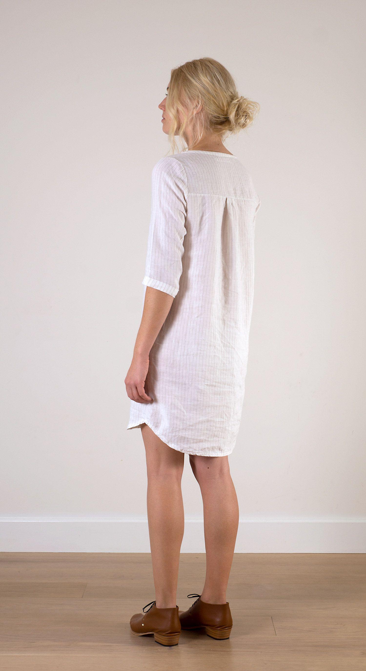 36f028d1d7 White pin striped linen shift dress http   www.pyneandsmith.com