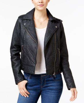 Collection B Faux-Leather Asymmetrical Moto Jacket   macys.com