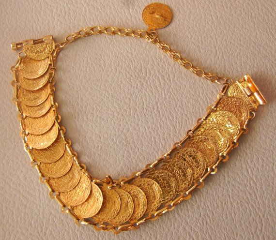 21 k gold bracelet vintage 1970s 1980s arabic by AbuMariamJewels