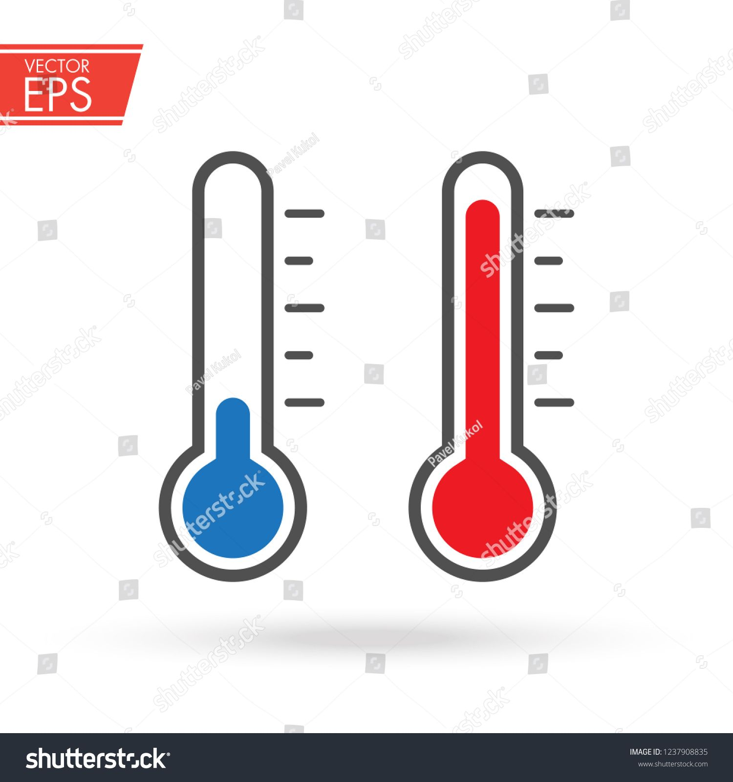 Hot And Cold Thermometer Icon With Measuring Ruler Simple
