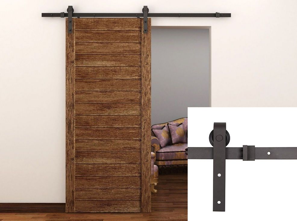 Carbon Steel 66ft Rustic Sliding Barn Door Kit Hardware Set