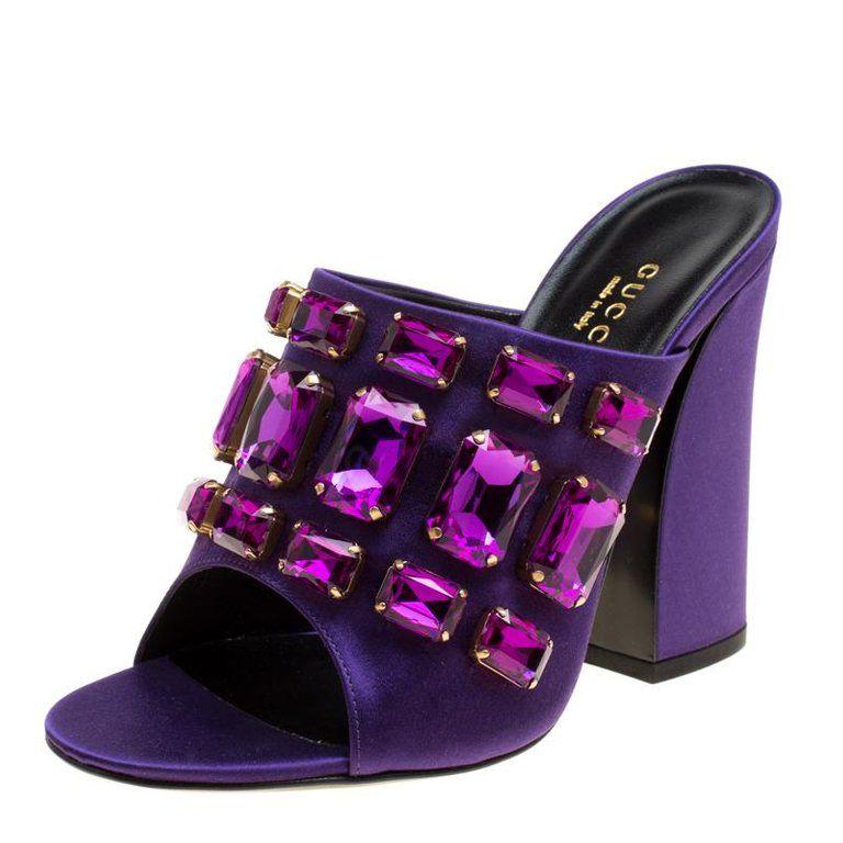 ab5bf79d2d0 Gucci Purple Satin Tessa Crystal Embellished Peep Toe Slide Mules Size 37  For Sale