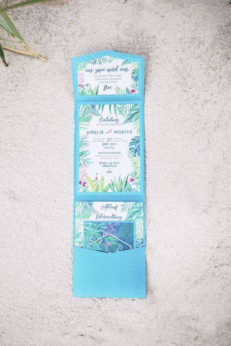 Strandhochzeit, Strand, Hochzeit, Exotisch, Einladung, Menükarte,  Tropicalwedding, Beachwedding,