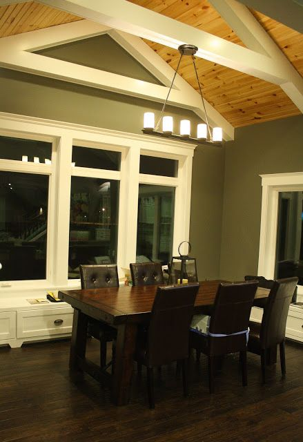 Dining Space Pine Ceiling Pottery Barn Lighting