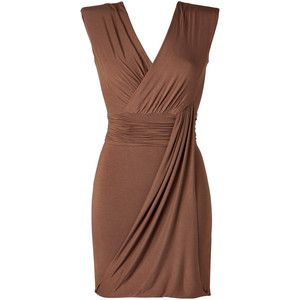 Or maybe my new color choice is brown, I'm so torn!  Brown sleeveless semi-wrap dress.