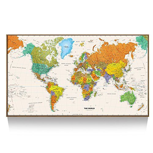 kreative arts large size world map wall art natural framed art print picture wall
