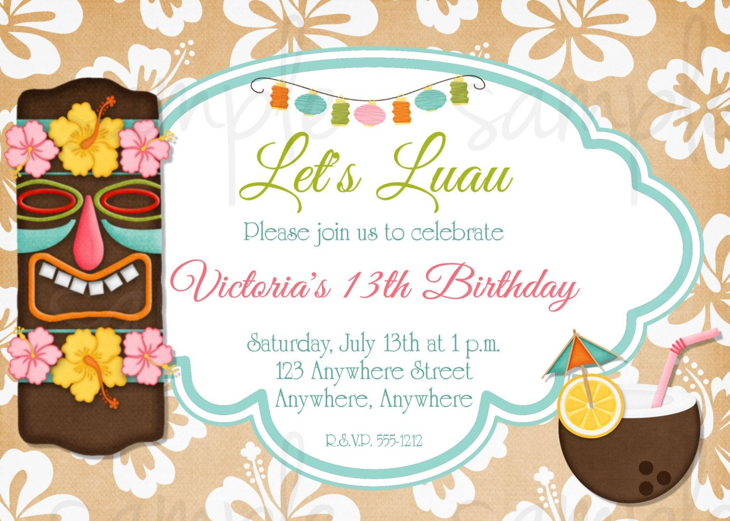 baby luau birthday invitations  new invitations, invitation samples